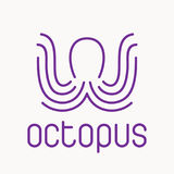 Purple octopus logo. Octopus emblem, logo in line style, vector illustration on white background Stock Photography