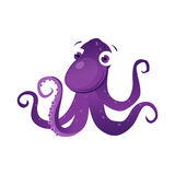 Purple octopus sea creature. Colorful cartoon character. On a white background Stock Photography