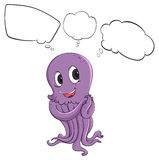 A purple octopus thinking Stock Photography