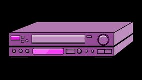 Purple old vintage retro hipster antique video recorder for videocassettes for watching movies, video with lots of buttons from th. E 80`s, 90`s on a black Stock Images