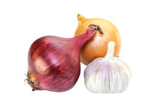 Purple onion and garlic isolated on white Stock Photos