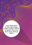 Purple and orange abstract background with wavy strips and with circle white field for own text. Book cover, scrapbook. Leaflet, flyer template in trendy royalty free illustration