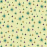 Purple, orange and blue stars on a pastel yellow background, seamless endless pattern stock illustration