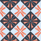 Purple orange blue wallpaper abstract pattern with squares and floral motif. Royalty Free Stock Photography