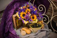 Purple and orange bouquet with sunflowers Royalty Free Stock Photo