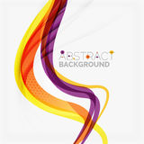 Purple and orange color lines on white stock illustration
