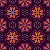 Purple and orange flower pattern Stock Photography