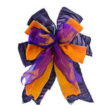 Purple and orange gift bow isolated on white Stock Photos