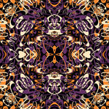 Purple and orange lines heart stripes on a dark background wallpaper Stock Photo