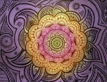 Purple orange pink Mandala Stock Images
