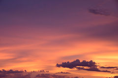 Purple and orange sky in evening time Royalty Free Stock Photos