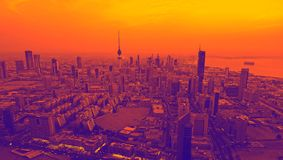Purple Orange Tones Kuwait City Lights Just Before Sunset Stock Images