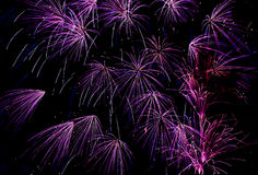 Purple orbit. An artistic display of purple fireworks Royalty Free Stock Photos