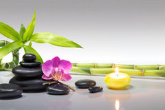 Purple orchid, candle, with bamboo and black stones - gray background. Preparation for spa: candle, massage with zen black stones, purple orchid and bamboo stalk stock photo