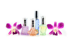 Purple orchid and Perfume bottles. Stock Images