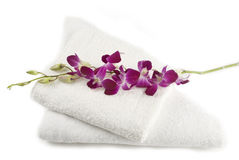 Purple orchid on towels Royalty Free Stock Photography