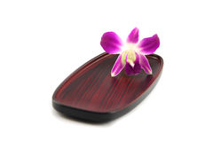 Purple orchid on a wooden plate. Stock Photos
