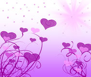 Purple ornament. Purple background with many hearts Stock Photo