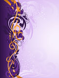 Purple ornament with gold ribbons Royalty Free Stock Images