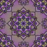 Purple  ornament. Traditional, folk,  ornament. Seamless pattern of mandalas on a lilac background. Template for shawl, carpet, wallpaper Royalty Free Stock Photo