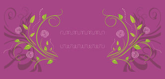 Purple ornamental background with stylized roses. Illustration Stock Images