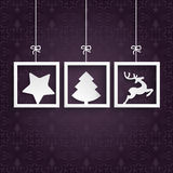 Purple Ornaments 3 Frames. Christmas cover with white frames on the purple background vector illustration