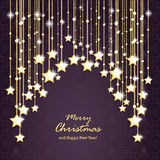 Purple Ornaments Golden Stars. Christmas cover with golden stars on the purple background Stock Photography