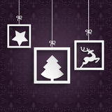Purple Ornaments 3 White Frames. Christmas cover with white frames on the purple background vector illustration