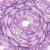 Purple ornate doodle foliage circle seamless Stock Image