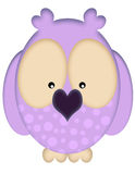 Purple Owl. A purple owl illustration with spots and a heart shaped beak Stock Images