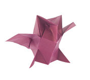 Purple owl of origami Stock Image