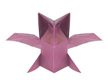 Purple owl of origami Stock Images