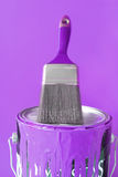 Purple paint and brush Stock Photo