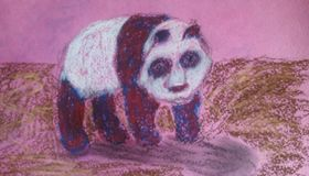 Purple panda in the pink world. Purple panda goes around fantastic surrealistic world with the pink sky stock illustration