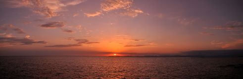 Purple Panoramic Sunset in Mallorca Stock Image