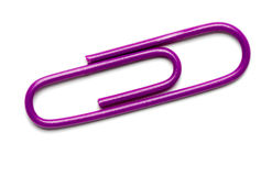 Purple Paper Clip. On White royalty free stock photos