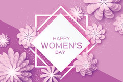 Purple Paper Cut Flower. 8 March. Origami Women`s Day. Square Rhombus Frame. Stock Image