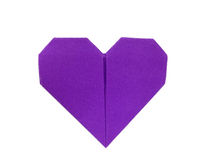 Purple paper heart Origami. Isolated on white background Stock Photo