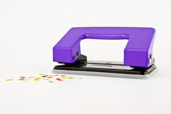 Purple paper puncher or paper driller Royalty Free Stock Image