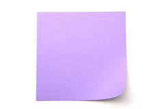 Purple paper stick note on white background. Purple paper stick note on a white background Royalty Free Stock Photo