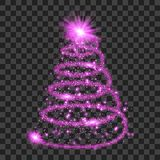 Purple particle wave in form of christmas tree. With bright shining and glowind particles isolated on transparent background. Glitter bright trail, glowing wave Stock Image