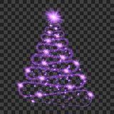 Purple particle wave in form of christmas tree. With bright shining and glowind particles  on transparent background. Glitter bright trail, glowing wave vector Royalty Free Stock Image