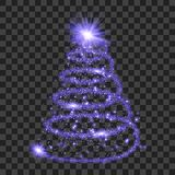 Purple particle wave in form of christmas tree. With bright shining and glowind particles isolated on transparent background. Glitter bright trail, glowing wave Royalty Free Stock Photography