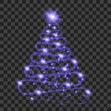 Purple particle wave in form of christmas tree. With bright shining and glowind particles isolated on transparent background. Glitter bright trail, glowing wave Royalty Free Stock Photo