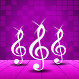 Purple Party background with treble clef Royalty Free Stock Images