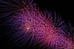 Purple Passion, Firework. Firework display showing exploding rockets with brilliant color.Copy space stock photography