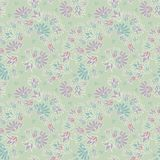 Purple Green Pastel Colored Ditsy Flowers Seamless Vector Repeat Pattern Background royalty free illustration