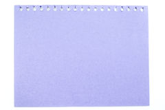 Purple pastel note paper top view isolated on white background, Stock Images