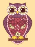 Purple patchwork owl Stock Image