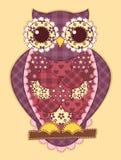 Purple patchwork owl Stock Image